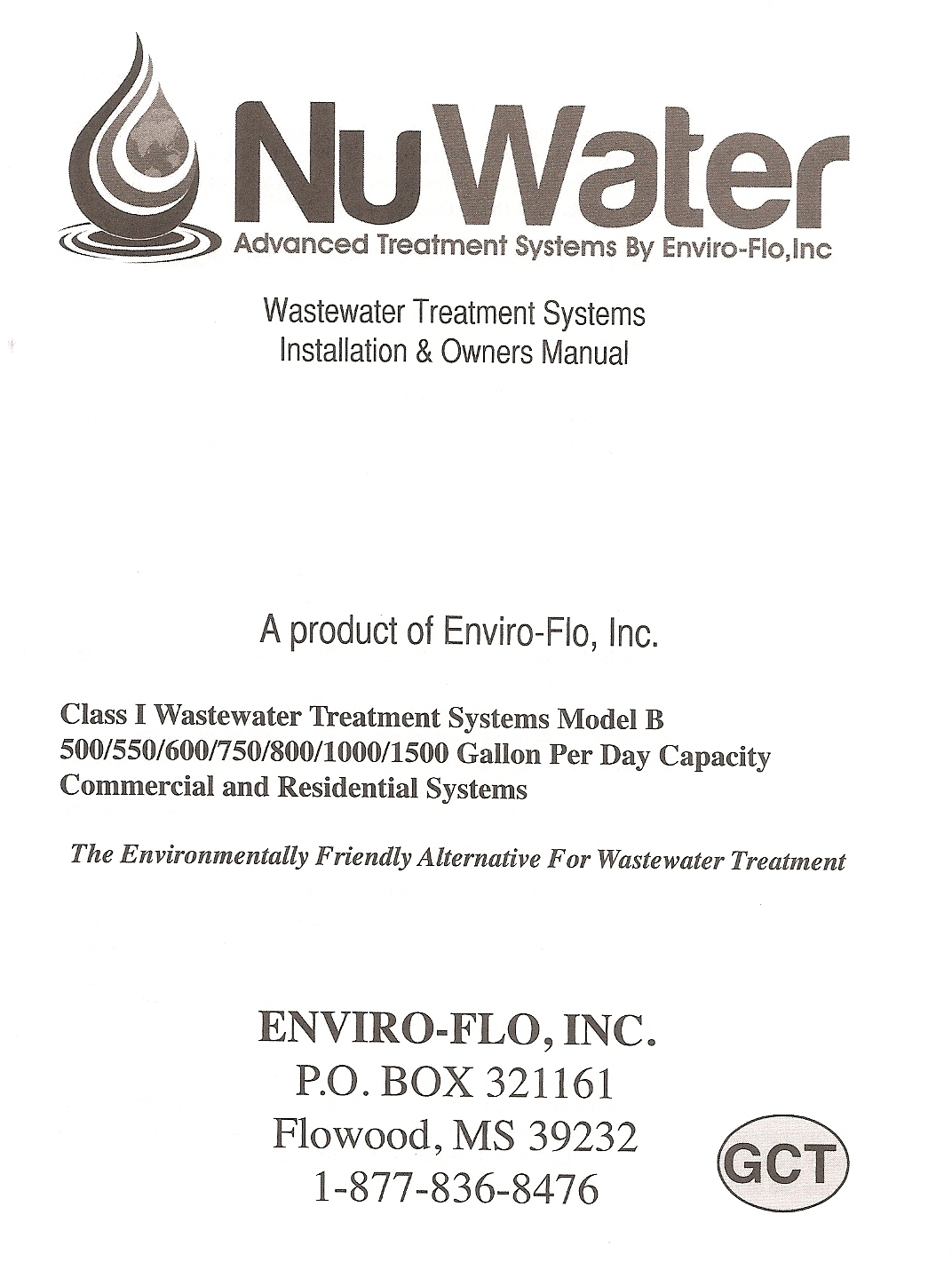 NUWATER_MANUAL_COVER manuals NuWater Nr 500 at reclaimingppi.co